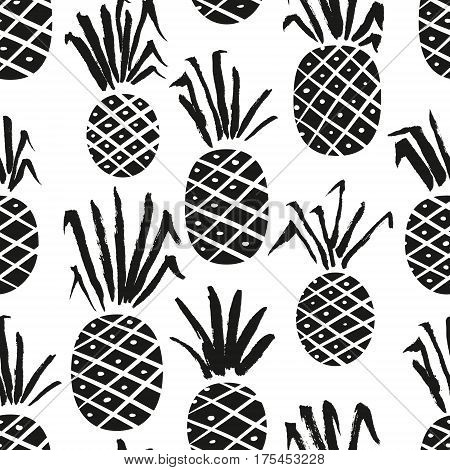 Pineapple seamless pattern. Background with summer fresh fruits with hand ink drawn leaves. Vector natural illustration for seasonal wrapping cards textile. Black and white colors