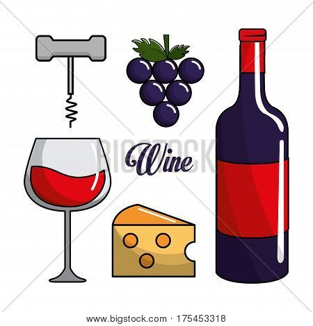glass, bottle of wine, grape, cheese and take out cork, vector illustration
