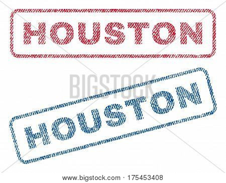 Houston text textile seal stamp watermarks. Blue, red fabric vectorized texture. Vector tag inside rounded rectangular shape. Rubber sign with fiber textile structure.