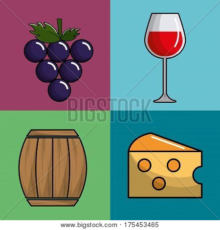 glass wine, grape, barrel and cheese icon, vector illustration design