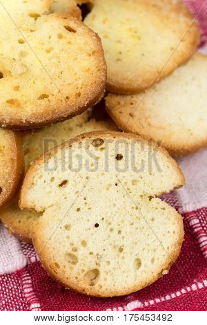 Crispy Toast Breads With Cheese In Macro View