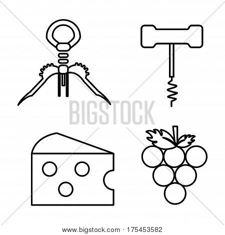 take out cork, grape and cheese icon, vector illustration design image