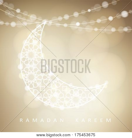 Ornamental arabic half moon with bokeh lights. Vector illustration background, invitation for muslim community holy month Ramadan Kareem.