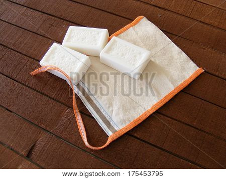 Bath pouch and soap, bathing and washing with pouch, turkish bath and pouch, soap