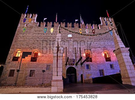 Marostica, Vi, Italy - September 9, 2016: Medieval Castle With D