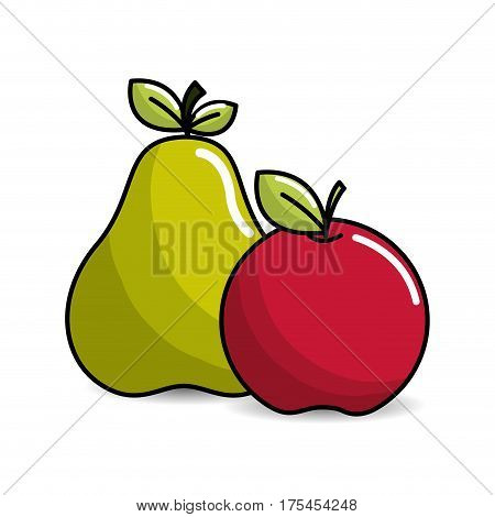 pear and apple fruit icon stock, vector illustration design