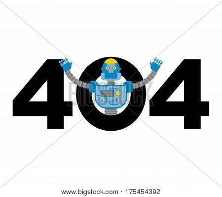 Error 404. Robot Surprise. Page Not Found Template For Web Site. Cyborg Does Not Know And Is Surpris