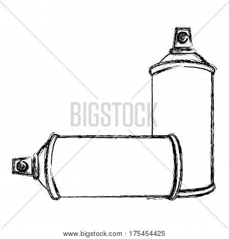blurred contour set aerosol spray bottle icon flat vector illustration