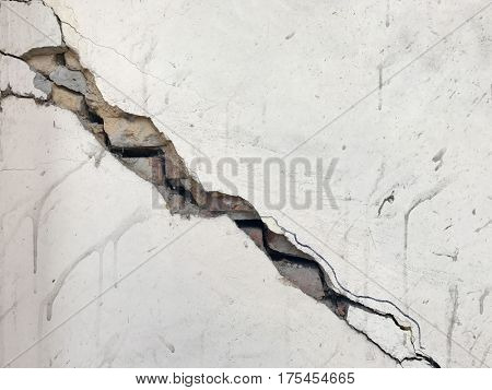 cracked painted plaster exposed crumble brick wall derelict grunge background