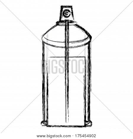 blurred contour internal view aerosol spray bottle can icon vector illustration