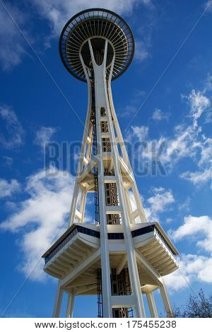 SEATTLE, WASHINGTON, USA - JAN 23rd, 2017: Space Needle against a blue sky clear day as viewed from the ground.