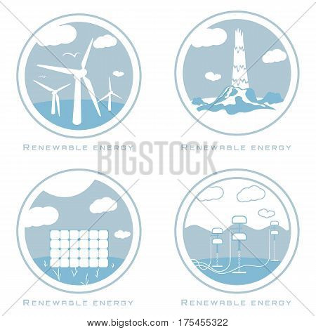 Vector set of illustrations in simple flat style - alternative and renewable energy - wind-powered electrical generators wave energy geothermal power station and solar panels