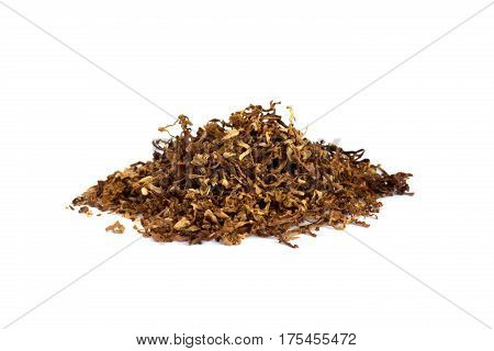 Heap of dry soft Pipe Tobacco on white Background