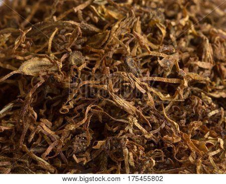 Close up Image of fine cut Cigarette Tobacco Fibers texture