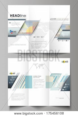 Tri-fold brochure business templates on both sides. Easy editable abstract vector layout in flat design. Minimalistic design with lines, geometric shapes forming beautiful background.