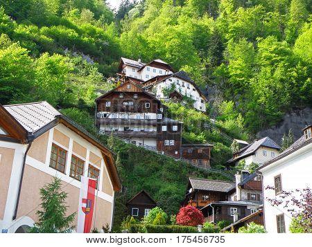 Impressive Traditional Austrian Houses on the Hill of Hallstatt, Austria