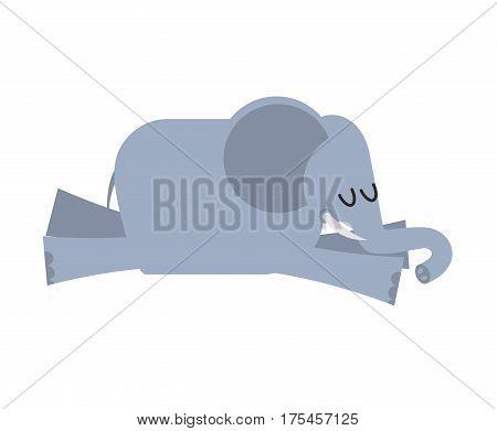 Sleeping Elephant. Animal Africa Is Sleeping. Sleepy Wild Beast
