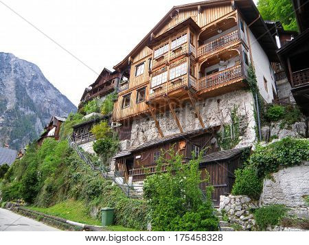 Traditional Vintage Style Houses in Hallstatt, Austria