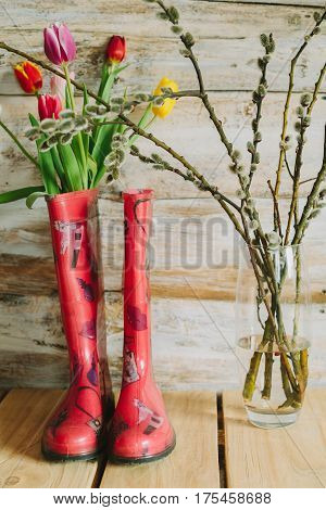 colorful rain boots with spring flowers and willow branches in wooden background.