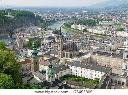Breathtaking view of Salzburg Cityscape with Salzach River as seen from Hohensalzburg, Austria