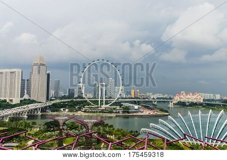 Singapore Flyer. Formula1 track. View From SuperTree