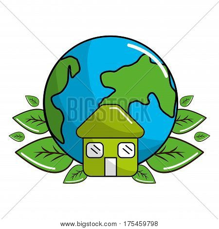 planet recycling icon stock, vector illustration design image