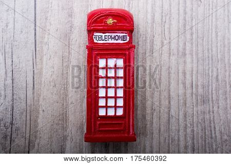 Telepphone Booth On A Grey  Background
