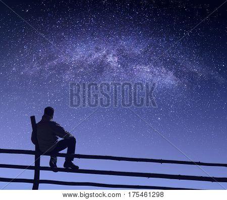 Hiker Under The Starry Sky
