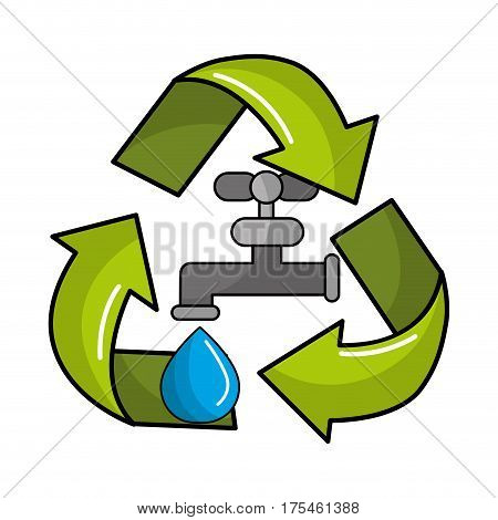 reduce and save water icon, vector illustration design