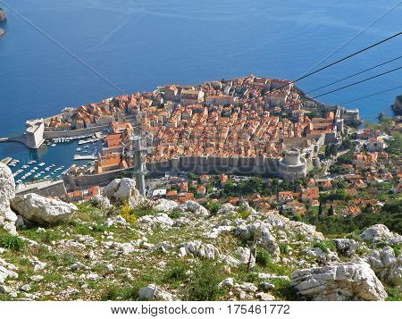 Dubrovnik old city as seen from the hilltop of Mt. Srd, Croatia