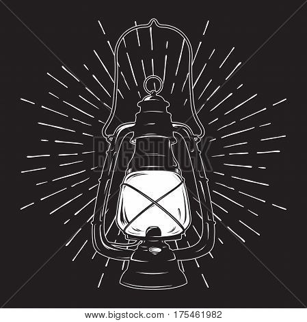 Hand-drawn grunge sketch vintage oil lantern or kerosene lamp with rays of light. T-shirt print or poster design. Vector illustration.