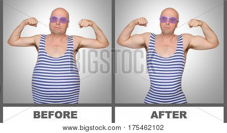 Overweight unhealthy man and slim strong bodybuilder. Compare two different lifestyles. Situation before and after use your wonderful pills or new amazing diet. Healthcare and male beauty theme.