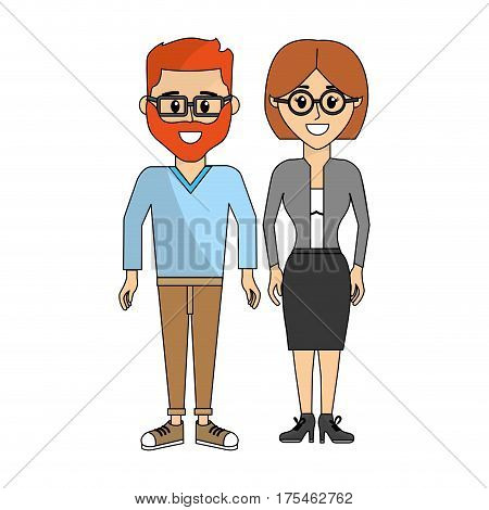 couples man with glasses and his wife vector illustraction design