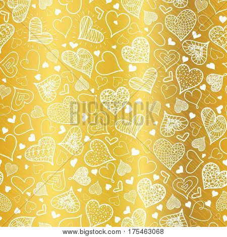 Vector Golden White Doodle Hearts Seamless Pattern Design Perfect for Valentine s Day cards, fabric, scrapbooking, wallpaper. Textile design.