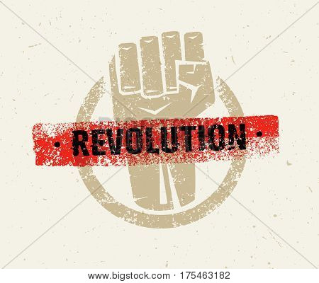 Revolution Protest Fist Creative Grunge Vector Concept on Paper Background