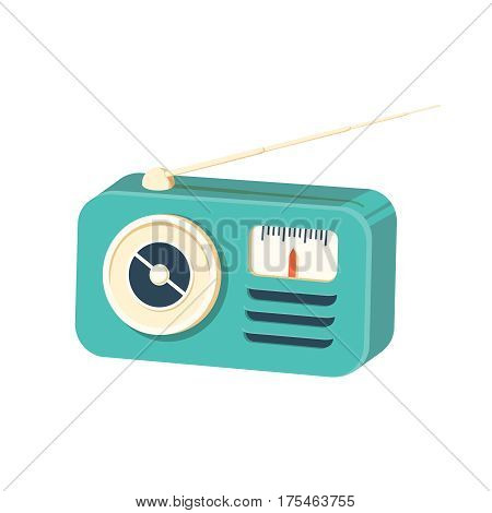 Retro radio receiver icon. Cartoon illustration of retro radio receiver vector icon for web. Old radio front mint green. Vintage style illustration