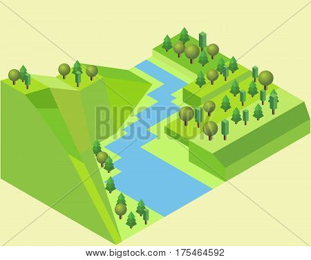 Isometric river land with a river feature grass trees river and ground in vector