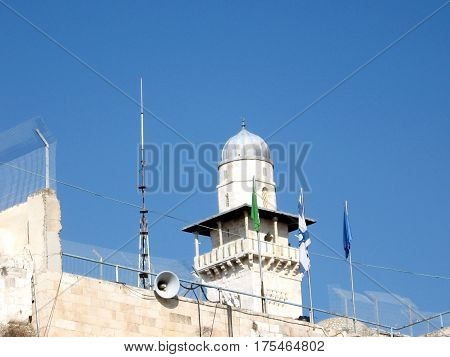 The Ghawanima minaret of Al-Aqsa Mosque in the old city of Jerusalem Israel