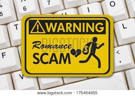 Romance Scam warning sign A yellow warning sign with text Romance Scan and theft icon on a keyboard 3D Illustration