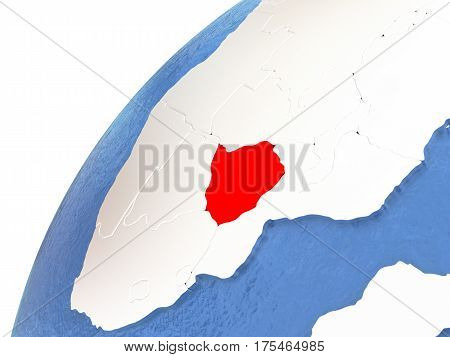 Zimbabwe On Metallic Globe With Blue Oceans