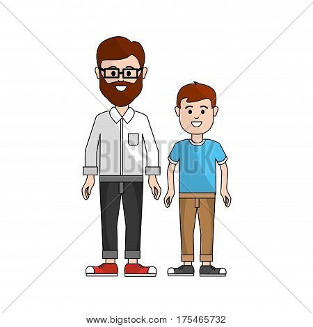 man with glasses and his son icon, vector illustraction design