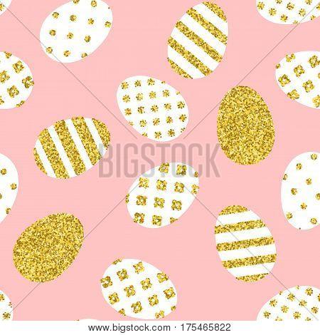 Golden Easter eggs pattern. Seamless background for easter design