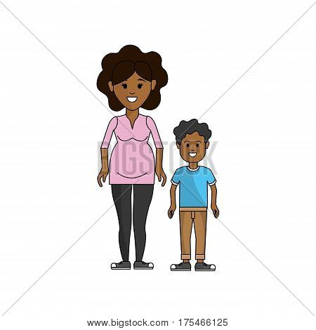 woman pregnant and her son icon, vector illustraction design