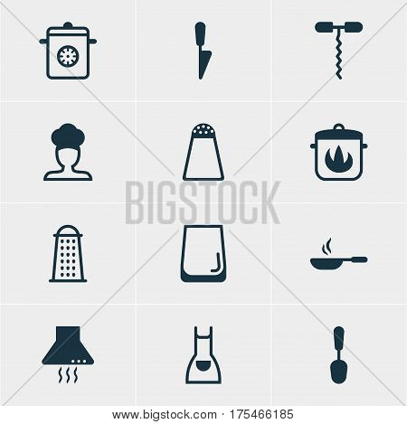 Vector Illustration Of 12 Kitchenware Icons. Editable Pack Of Kitchen Dagger, Tablespoon, Glass Cup And Other Elements.