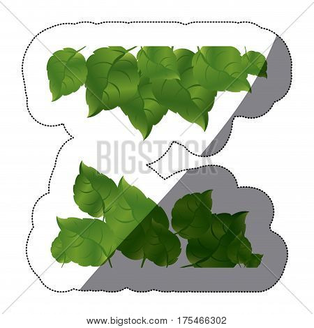 realistic sticker set of green leaves two rows and middle shadow vector illustration
