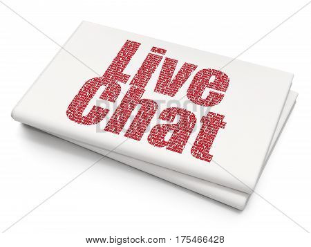 Web design concept: Pixelated red text Live Chat on Blank Newspaper background, 3D rendering