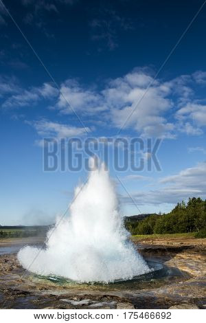 Suddenly erupting hot spring geysir on Iceland.