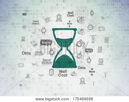 Time concept: Painted green Hourglass icon on Digital Data Paper background with  Hand Drawing Time Icons