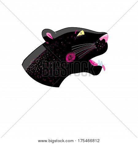 Graphics head of a black panther on a white background