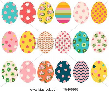 Colorful Easter eggs with flowers dots and patterns for greeting cards and egg hunt designs